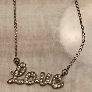 "Guess ""LOVE"" Silver Jewelled Necklace"